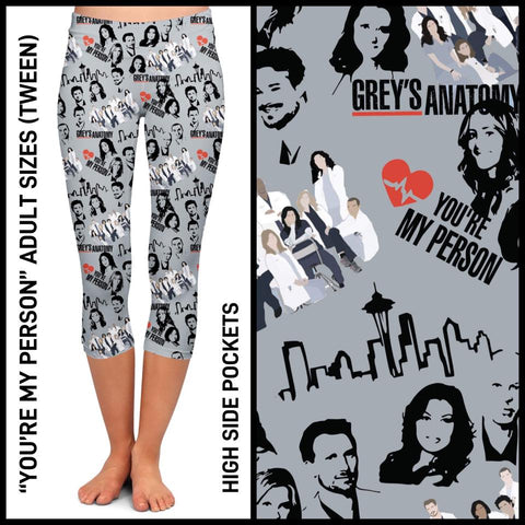 Pre-Order Grey's Anatomy Capri Leggings Custom Print Novelty Leggings with Pockets - Arrow Trend Leggings