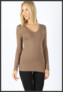 Women's Basic Long Sleeve Tee Mocha V-Neck Solid - Arrow Trend Leggings
