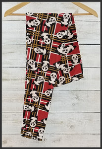 Panda Leggings Red Plaid Leggings Panda Bear Plaid Leggings Yoga Band Buttery Soft Arrow Trend Leggings