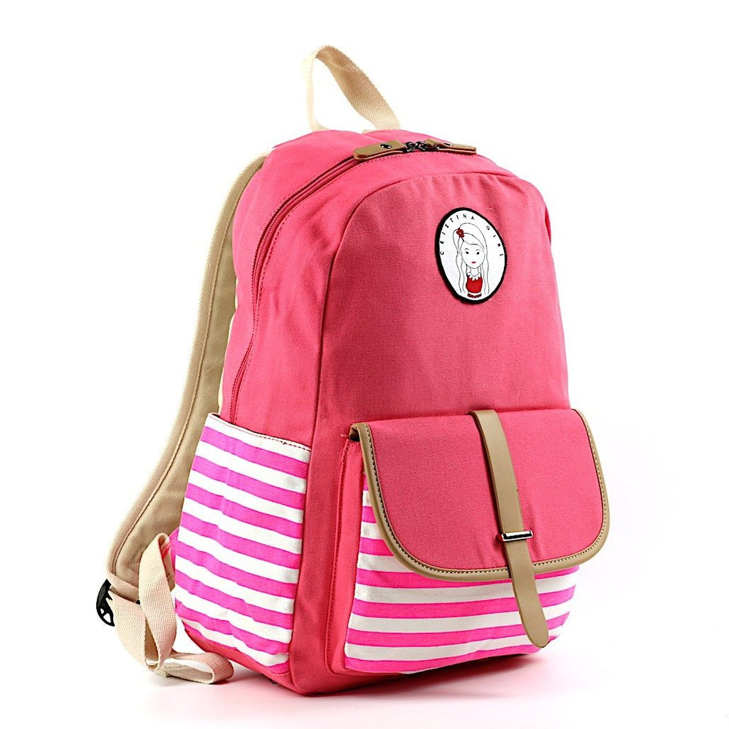 Striped Travel Backpack With Laptop Pocket