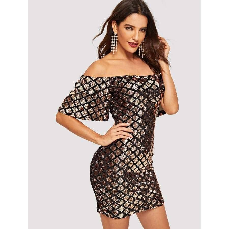 Off Shoulder Geo Sequin Bodycon Dress [product_type] GenmizedShop - Genmized Shop