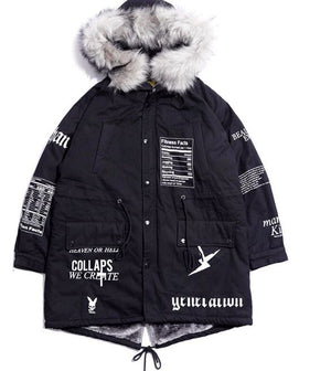 Thick cotton-padded graphic parka
