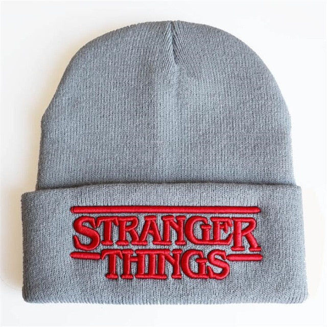 Hot New Movie Stranger Things Knitted Hat Embroidery Fashion Black Keep Warm Wool Cap Autumn Winter Gift