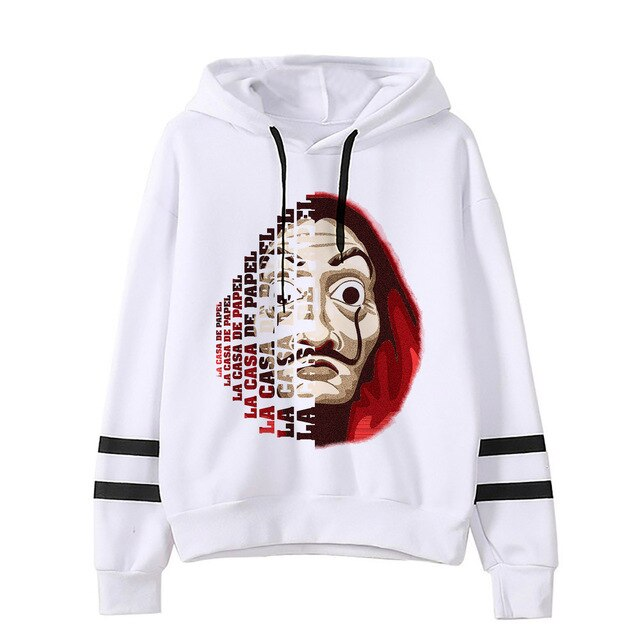 Women's La Casa De Papel Hoodies Funny Design Hooded Money Heist Tops TV Series Pullover Long Sleeve House of Paper Clothes