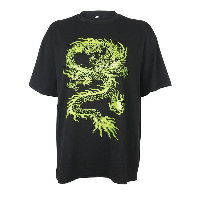 HEYounGIRL Chinese Style Dragon Printed Oversized Tshirt Women Harajuku Casual Loose Tee Shirt Femme Short Sleeve Cotton T-shirt