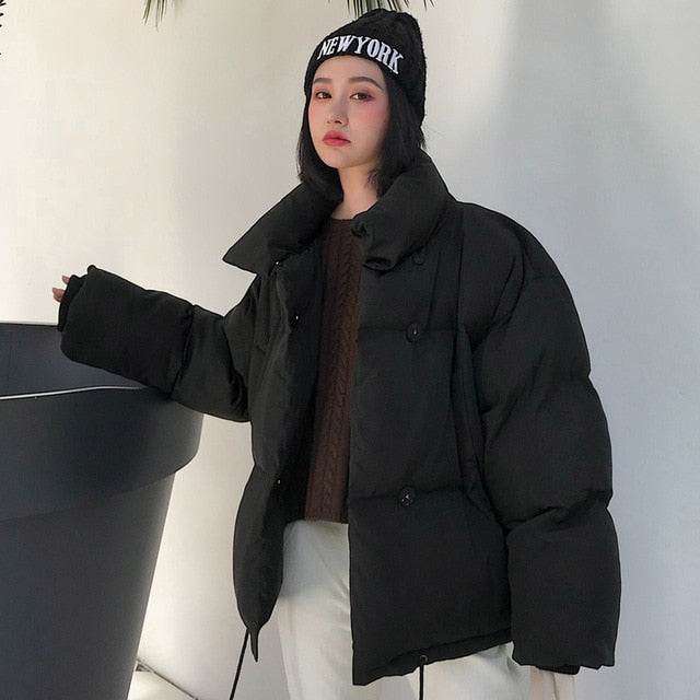 Korean Style Winter Jacket Women Stand Collar Solid Black White Female Down Coat Loose Oversized Womens Short Parka