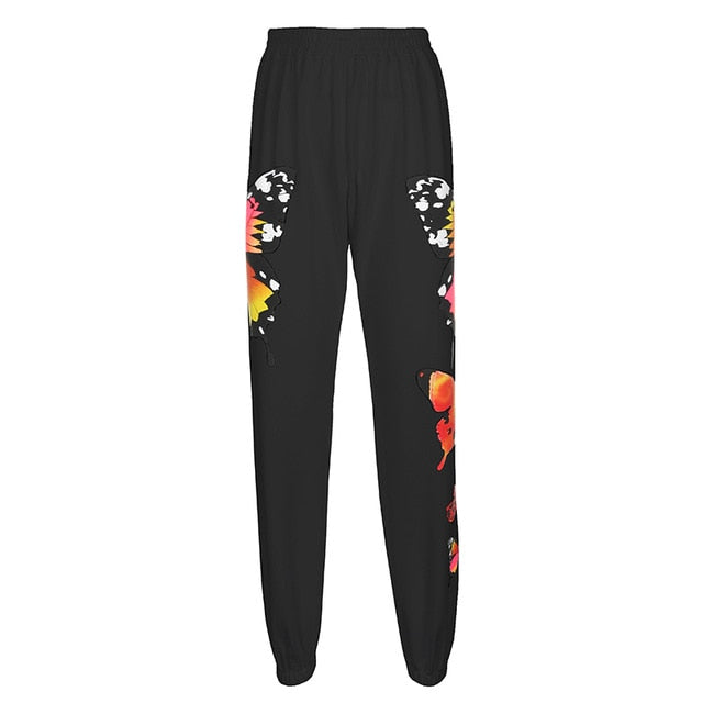 HEYounGIRL White Casual Loose Track Pants Joggers High Waist Sweatpants Women Butterfly Print Harajuku Long Trousers Streetwear