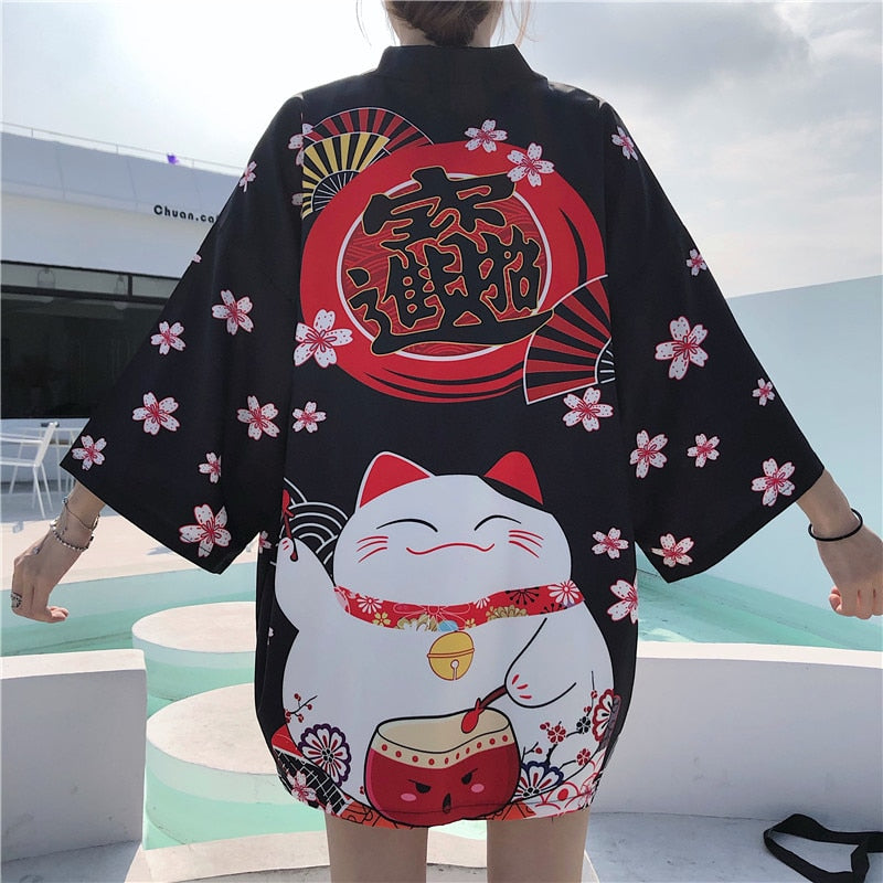 New White Black Lucky Cat Loose Beach Cardigan Women Harajuku Japanese Kimono Style Tops Blouse Clothing