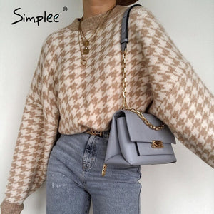 Simplee Women geometric khaki knitted sweater women casual Houndstooth lady pullover sweater female Autumn winter retro jumper