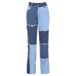 HEYounGIRL Y2K High Waisted Jeans Women Casual Long Trouses Ladies Patchwork Fashion Denim Pants Capris Pocket Streetwear