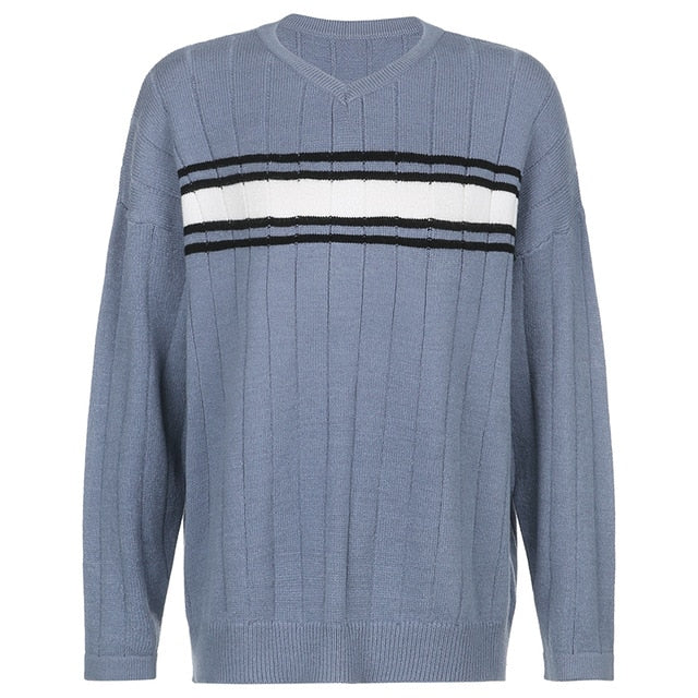 HEYounGIRL Striped V Neck Oversized Sweater Women Casual Loose Knitted Jumper Ladies Preppy Style Vintage Korean Knitwear Autumn