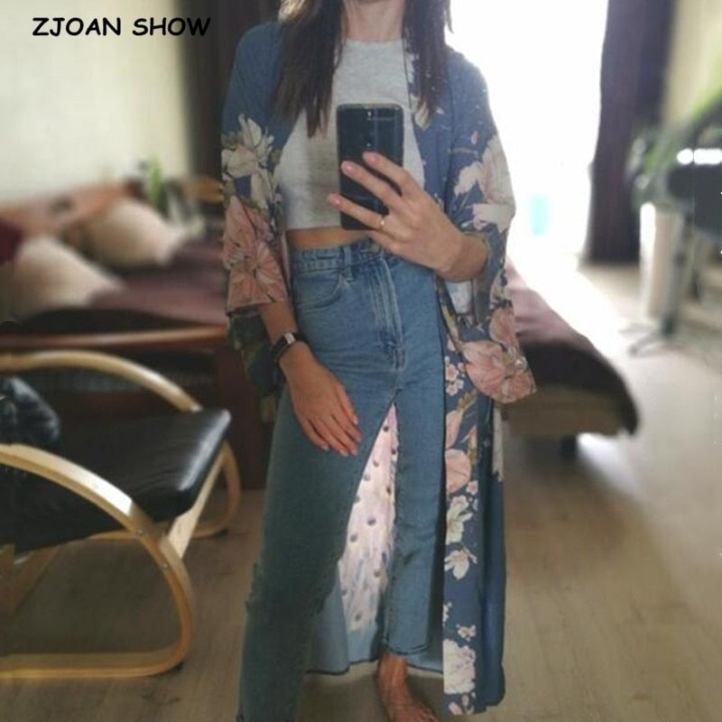 Bohemian V neck Peacock Flower Print Long Kimono Shirt Ethnic New Lacing up Sashes Long Cardigan Loose Blouse Tops femme
