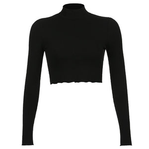 HEYounGIRL Solid Nude Turtleneck Cropped T Shirt Women Autumn Casual Long Sleeve T-shirt Ladies Skinny Basic Tee Shirt Femme
