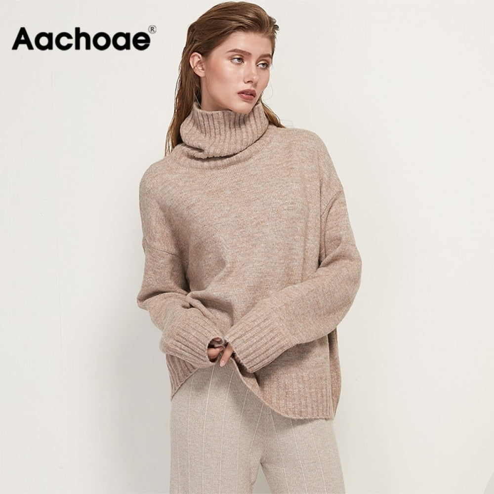 Aachoae Autumn Winter Women Knitted Turtleneck Cashmere Sweater Casual Basic Pullover Jumper Batwing Long Sleeve Loose Tops