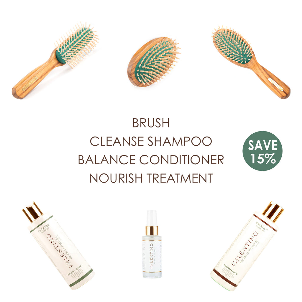 The Valentino Collection of wooden hairbrushes and our Cleanse Shampoo, Balance Conditioner & Nourish Treatment