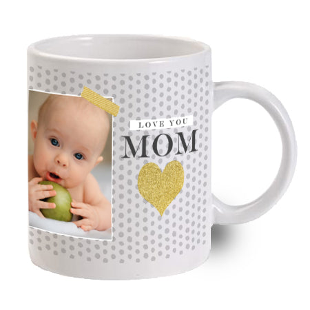 Love You Mom Mug Gold Heart