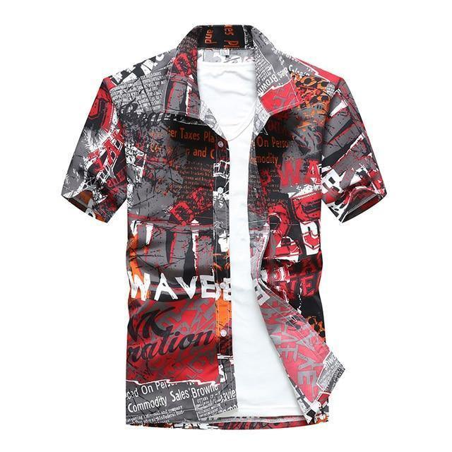 Rrive Mens Hawaii Short Sleeve Beach Button Front Slim Shirts