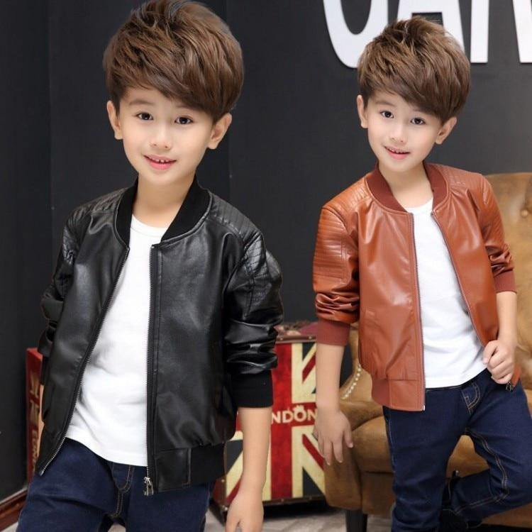 a561fdba3df79c New Baby Boy faux Leather Jacket Boys Coat Black and Brown Color Children  Jackets Manteau Garcon