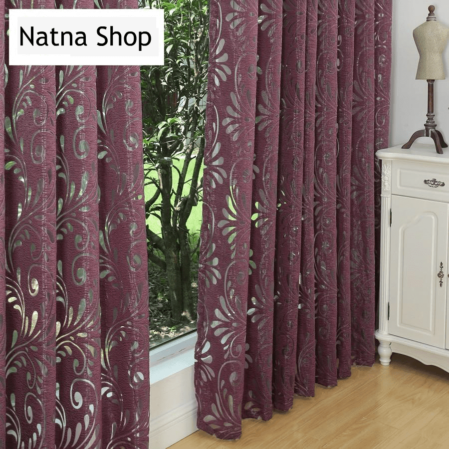 Ready made semi-blackout curtains blind panel fabrics for window purple  curtains living room window treatment purple black white