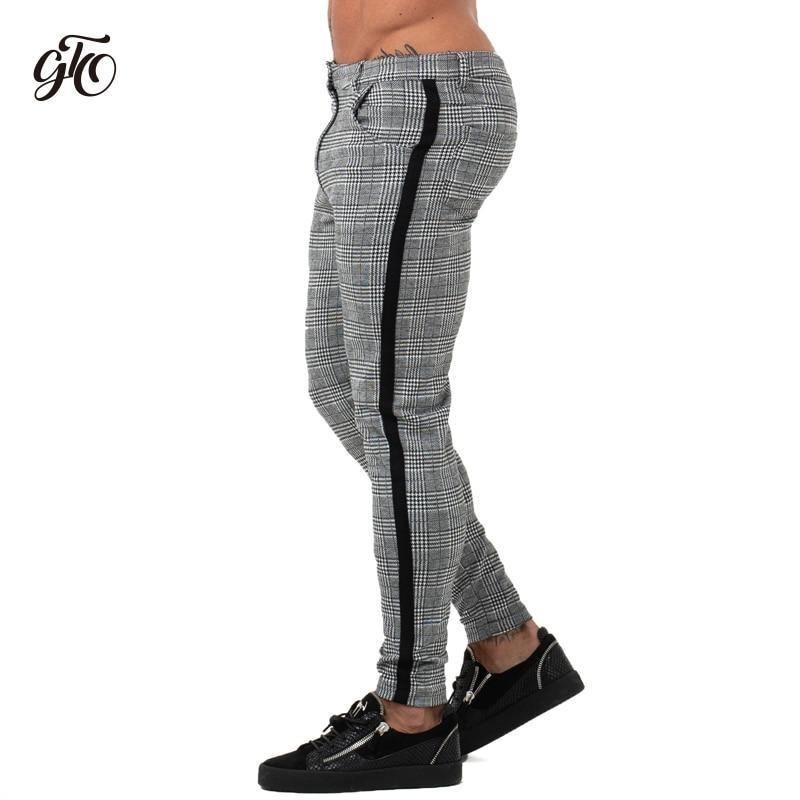 17f6ab113 Mens Chinos Slim Fit Skinny Pants For Men Chino Trousers Plaid Design  Fashion Grey With Stripe