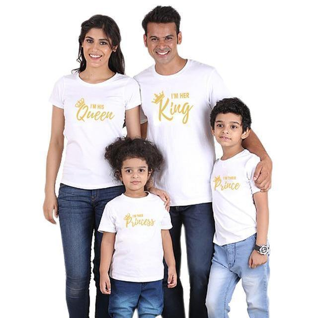 15f92b8b86385 family matching clothes outfits look father mother daughter son crown  tshirt clothing daddy mommy and me baby dresses king queen