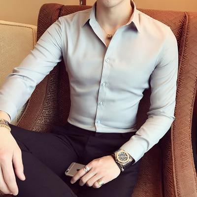 9b3a31d7e 2019 stylish men in the spring and autumn season cotton long sleeve shirt  Male high