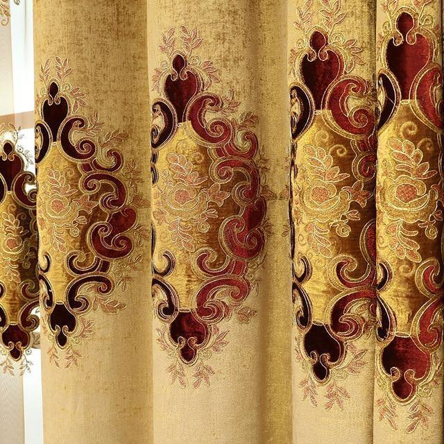 New European Style Curtain Fabric Embroidery Curtains for Living Dining  Room Bedroom Valance