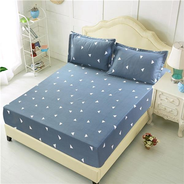 Bed Sheet With Pillowcase Blue Flower Printed Bed Linen Queen Size