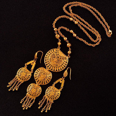 2044b881c0 Long Necklace Earrings for Women African Wedding Jewelry sets Arab Dubai  Middle East Style Gifts ...