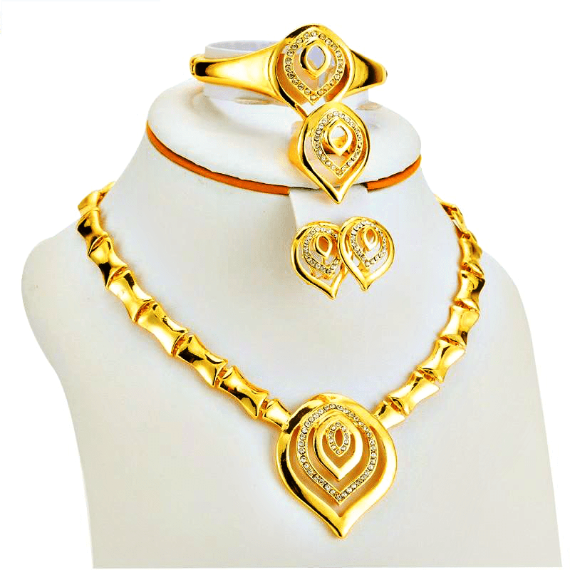 aa27f46fbff68 Gold Color Jewellery Sets Necklace Earring Ring Women