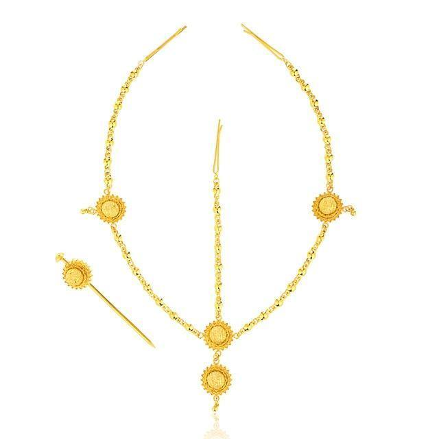 65b85318ba1e9 Traditional Nfho Ethiopian Bridal Jewelry Sets Big Gold Color hair jewelry  Full set African jewelry for Eritrean