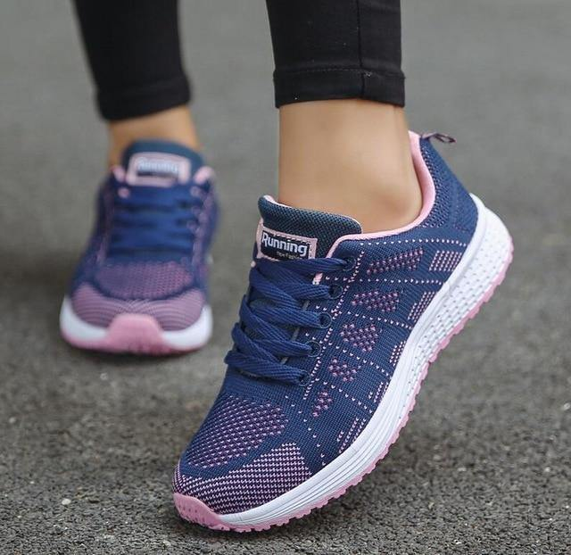 5cb872d2a Fast Delivery Women Casual Shoes Fashion Breathable Walking Mesh Lace up  Flat Shoes Sneakers Women Tenis