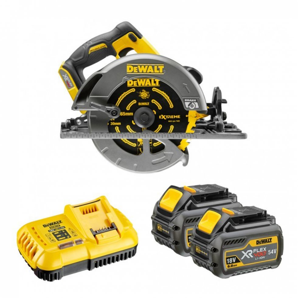 DeWalt DCS576T2 54V XR Flex Volt 190mm Circular Saw TRACKED - 2 x 6.0 Ah Batteries