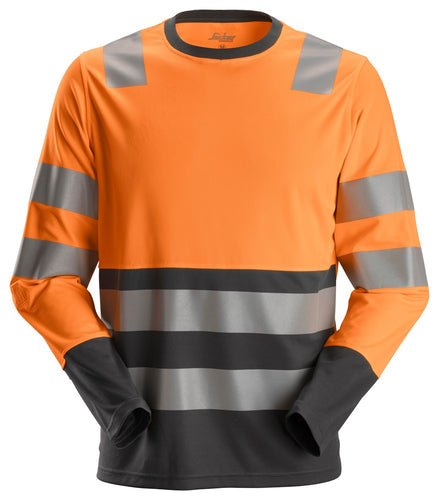 Snickers 2433 AllroundWork High-Vis LS T-Shirt CL2
