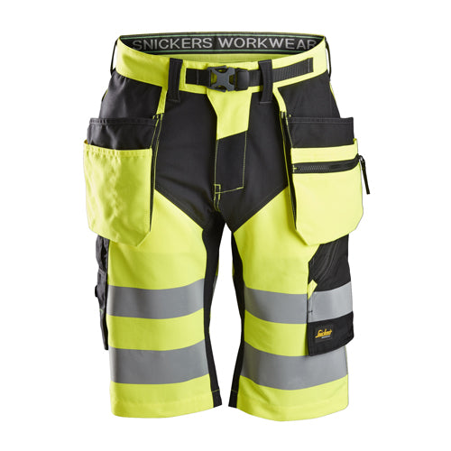 Snickers 6933 FlexiWork High-Vis Shorts+ Holster Pockets Class 1