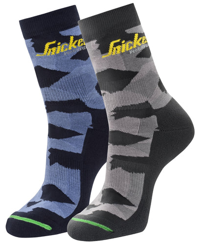 Snickers 9219 Flexi Work Camo Socks 2 Pack