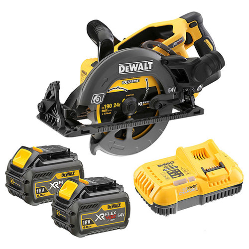 DeWalt DCS577T2 54V XR FlexVolt 190mm High Torque Circular Saw - 2 x 6.0AH Batteries