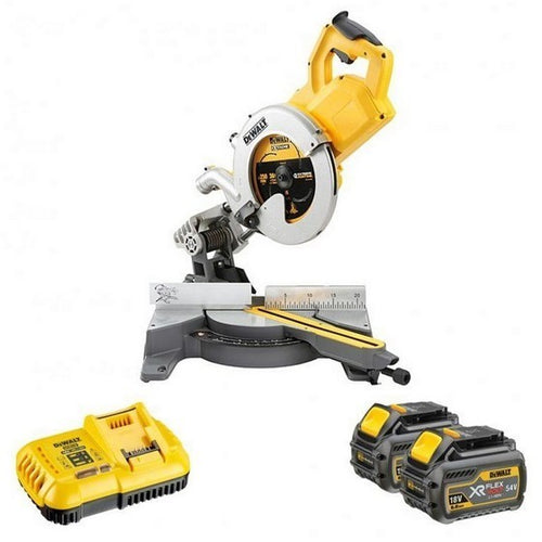 DeWalt DCS778T2 54V XR Flex Volt 250mm Mitre Saw - 2 x Batteries and Fast Charger