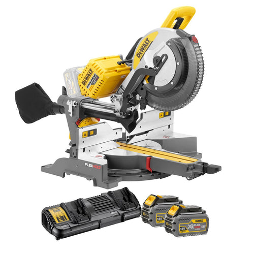 DeWalt DHS780T2 54V XR Flex Volt 350mm Mitre Saw  - 2 x Batteries and Fast Charger