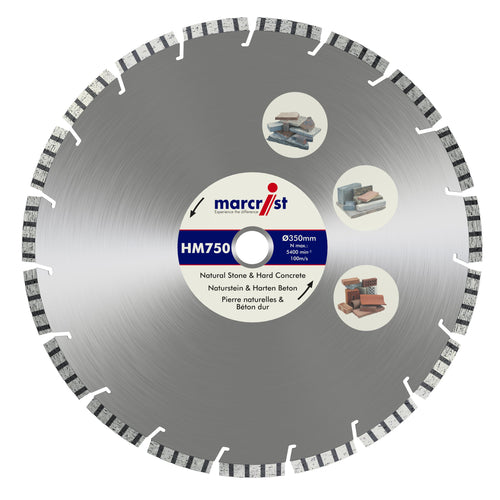Marcrist HM750 250mm x 30mm Granite & Hard Materials Blade