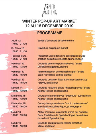 speedarting popup  art event lausanne christmas 2019