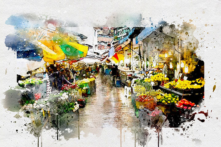 Water colour painting rasht grand bazar