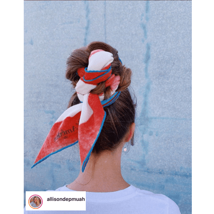 Allison Depriestre Makeup @allisondepmuah created this cool look with using a scarf in her hair bun