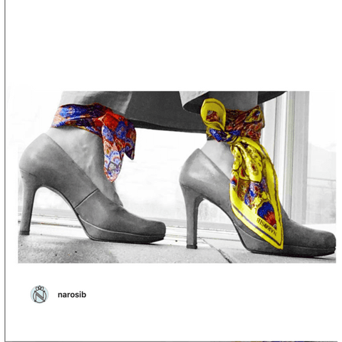 Narosib printed silk scarves and heels
