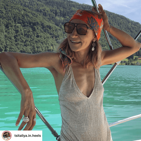 @tsitaliya.in.heels our favourite fashionista takes the scarf head piece on a boat trip