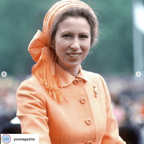Princess Anne in the 70s as shown on @youmagazine . her scarf as hair band matches her collar