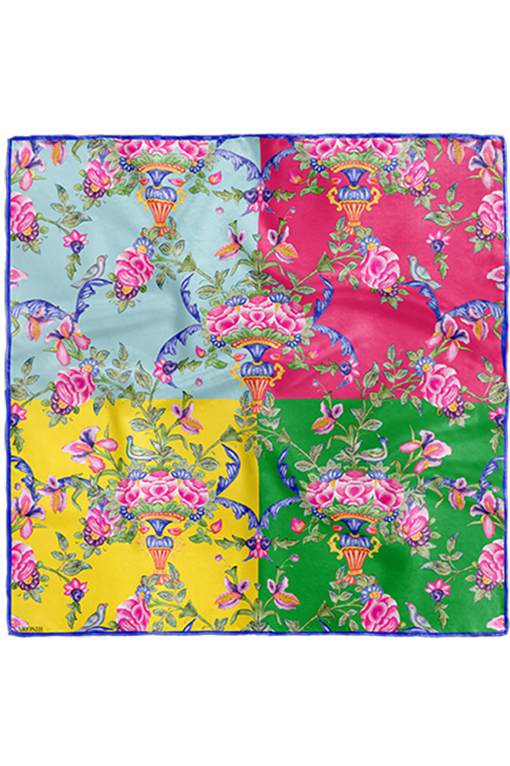 GOLESTAN multi-colour Print Scarf in silk satin with hand rolled edges