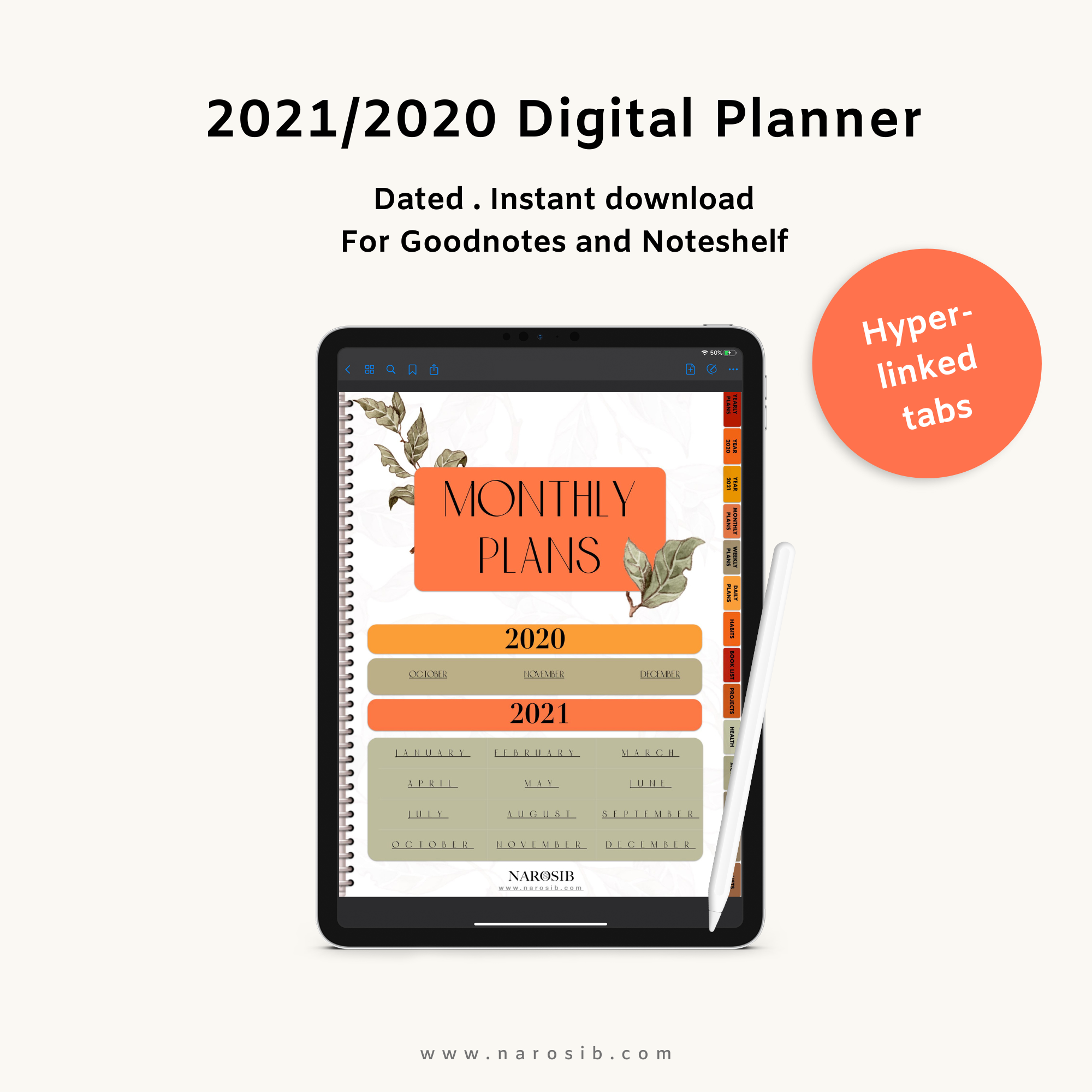 Digital Planner 2020 / 2021-Fully Hyperlinked-for Goodnotes,Notability+ FREE STICKERS, Digital planner,- NAROSIB