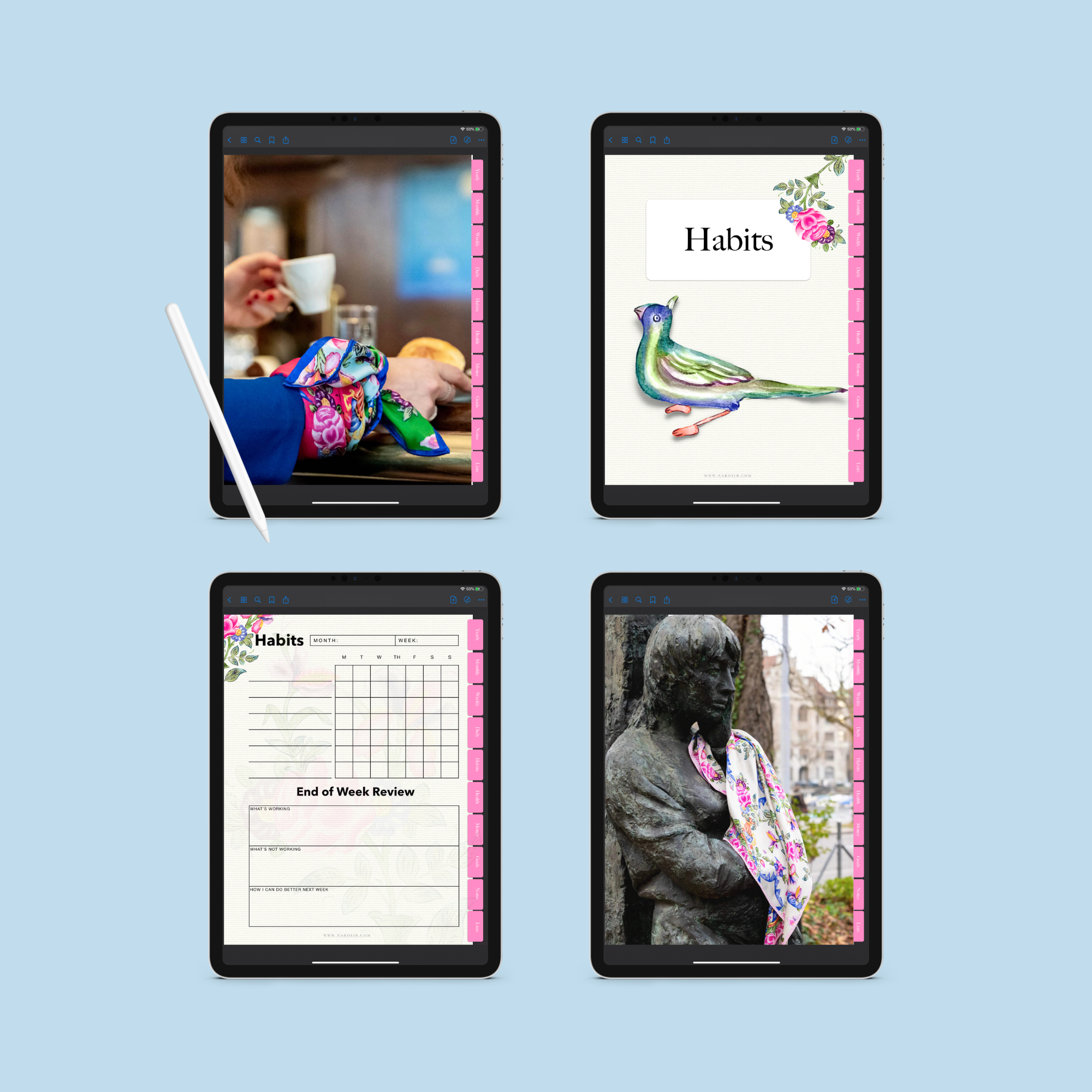 Digital Planner - Timeless Hyperlinked undated Life planner GOLESTAN pattern, Digital planner,- NAROSIB