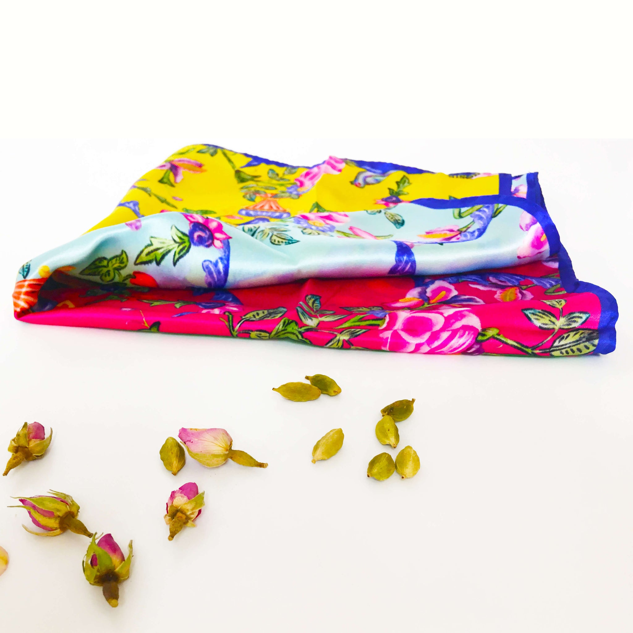 GOLESTAN multi-colour Print Scarf in silk satin with hand rolled edges- Narosib Switzerland- Made in Italy